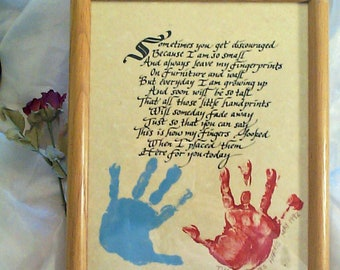 Mother's Day remembrance Calligraphy Hand print Poem You Personalize