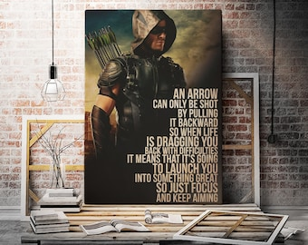 Green Arrow Poster Print Oliver Queen Wall Art Gift DC Decor Quote ornament home birthday party for kids man woman him her baby