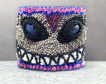 Embroidered, Cuff Bracelet, Cheshire Cat, Beaded Bracelet, Seed Bead Bracelet, Modern Embroidery, Leather Bracelet