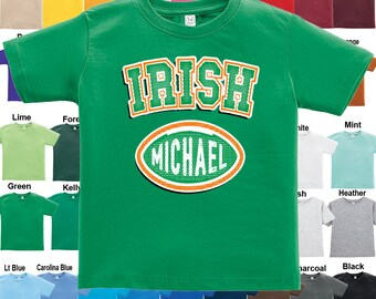 IRISH - football design T-Shirt -Personalized with Name - Boys / Girls / Infant / Toddler / Youth sizes