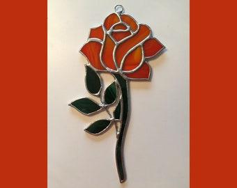 Handmade Stained Glass ORANGE Rose Suncatcher