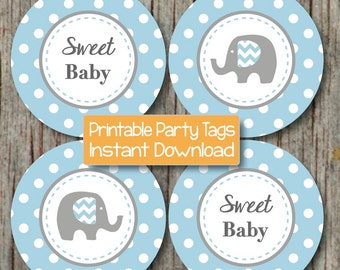 Baby Shower Decorations Elephant Cupcake Toppers Instant Download Powder Blue Grey Printable Favor Tags Party Supplies Sweet Baby Boy 123