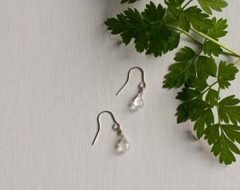 Moonstone Earrings, crystal earrings, rainbow moonstone, moonstone jewelry, gemstone earrings, gift for her, dainty earrings, womens gift