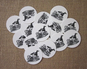 Greyhound Dogs Tags Round Paper Gift Tags Set of 10