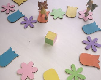 Flower Fairy game peg doll wooden toy board game Montessori educational learning colors