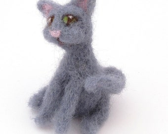 Grey cat - needle felted cats - Wool felt Miniature pet