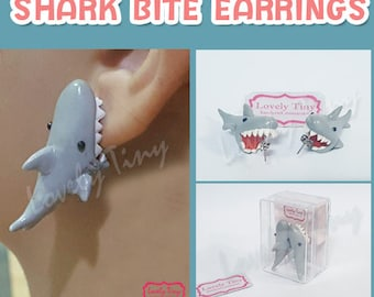 Kawaii 3D Earrings Shark bite stud earrings Polymer Clay Handmade 3D Earring, Gift for Cutie woman girl, Ready to be Gift