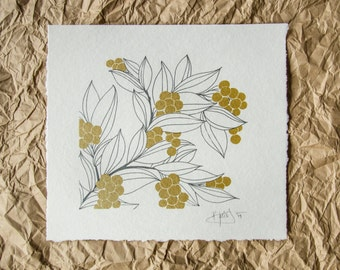 Hand Screen Printed Art Print // Berries & Leaves