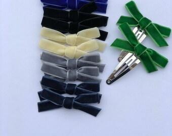 Velvet bow hair clips .Two ribbon hair clips .Piggy tell.