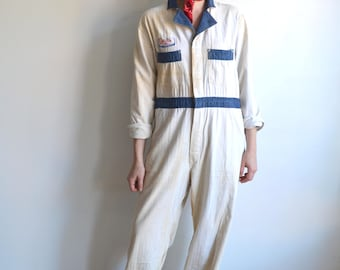Vintage 50s Two Tone Herringbone Twill Coveralls/ Distressed White Blue Coverall Uniform/ Cessna Mechanic/ Cleveland Special/ Size 40 Medium