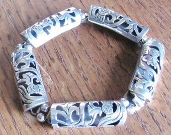Vintage Los Ballesteros Mexican Sterling Silver bracelet jewelry hand made Mexico 5 shadow boxes Hecho en Mexico