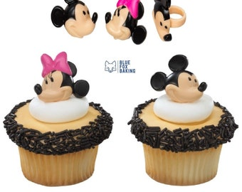 Disney Mickey and Minnie Mouse Cupcake Toppers 12 pcs - Cupcake Topper Rings, Disney Toppers, Mickey Mouse Cupcake Toppers, Cupcakes Cake