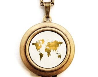 World Map Locket - Let Love Light The Way Gold World Map Photo Locket Necklace