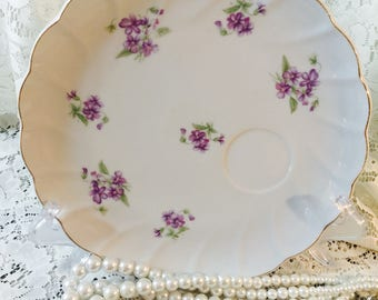 Vintage Porcelain Snack Plate With Cup Holder - Purple Flowers - Japan