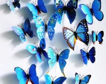 Mixed size blue Stereoscopic Butterflies wall sticker ,3D butterflies wall decal- set of 24 pcs butterflies,various sizes