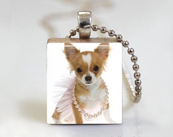 Chihuahua Pendant. Scrabble Tile Jewelry, Eco Friendly Jewelry, Cute Pendant - Scrabble Tile Pendant - Free Ball Chain Necklace or Key Ring