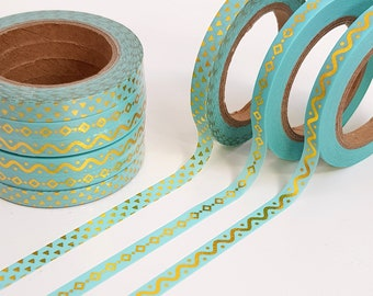 Skinny Blue and Gold Foil Washi Tape Set of Three