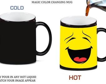 Smiley Face Emoticon Emoji Morph Morphing Color Changing Ceramic Coffee Mug Tea Cup 11oz, 0006972