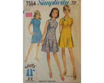 1960's Simplicity 7554 Dress Pattern Size Junior Petite 7JP