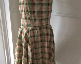 Summer green plaid dress