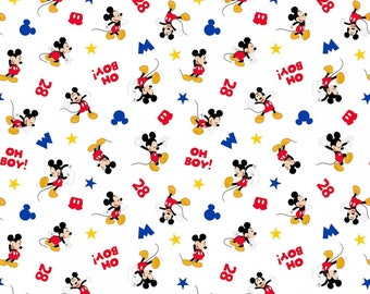 Mickey Mouse Shopping Toss 100% Cotton Fabric