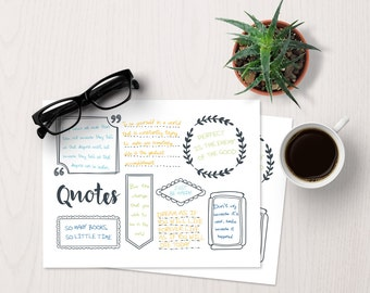 Bujo Quote Template | Bullet Journal Quotes, bullet journal template page, blank bujo printable, handdrawn bujo page, planner page