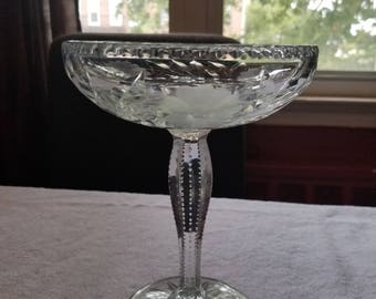 Vintage Cut Glass Compote