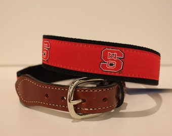 NC State Wolfpacks  Men's  Web Leather Belt