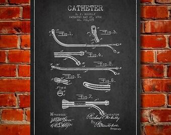 1902 Catheter Patent Canvas Art Print, Wall Art, Home Decor, Gift Idea