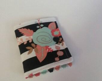 Tea Bag Wallet, Tea Bag Holder,Tea Wallet,  Tea Bag Storage, Tea Bag Caddy, Travel Tea Bag Holder, Tea Bag Case, Peach Rose Stripes