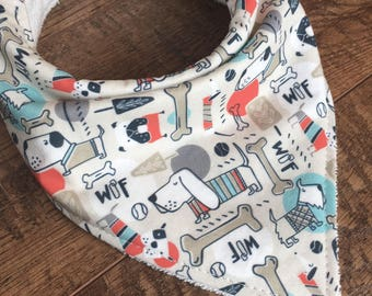 Dog bib Dog Bandana bib-Gender Neutral baby gift Bandana Bib-Organic Bamboo Terry Cloth Bib- puppy Drool Bib-baby bandana bib