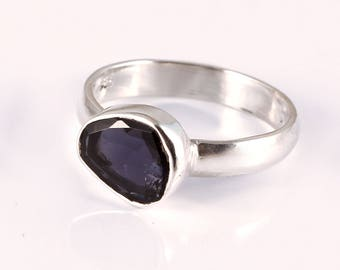 Iolite 92.5 sterling silver ring size 6 us