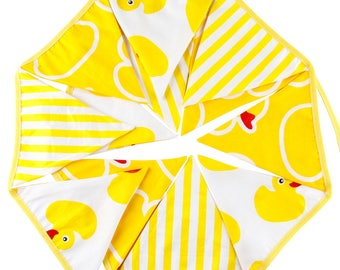 Fabric Bunting Banner Nursery Yellow Ducky Flags Bunting, Photography Prop Cotton Fabric Banners  Boys or Girls Baby Shower Garland