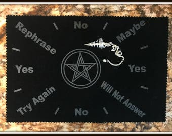 Pentacle Pendulum Mat with Metal Pendulum Included ~ Wicca ~ Witch ~ Magick ~ Altar Supplies ~ Divination ~ Fortune Seeing ~ Scrying