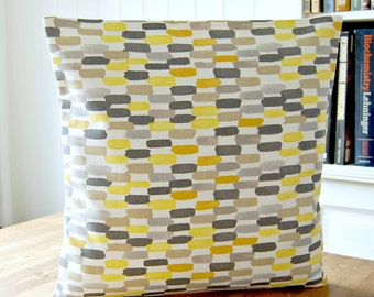 decorative pillow cover, mustard lemon yellow, grey white, abstract 16 inch cushion cover
