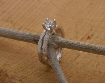 Topaz sterling silver bridal ring set, white topaz silver engagement ring, matching twig wedding band, stacking tree branch ring set, DT61