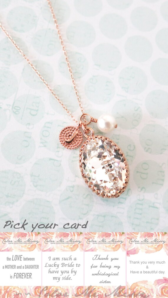 Rose Gold FILLED Swarovski Clear Oval Crystal Necklace, blush pink wedding bridal earrings, bridal bridesmaid gifts, pink gold weddings