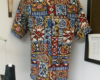 CAMP Clerical shirt multicolor geometric print, all cotton, size LARGE with 16 inch Tab Collar, Untucked