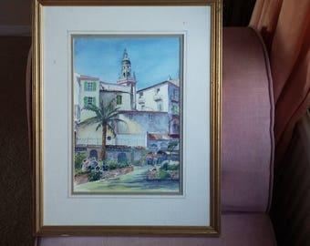 Original Vintage Watercolour View of Vieux Menton.