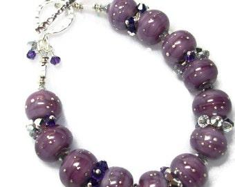 Swarovski Crystal and  Lampwork Beaded Bracelet   SRAJD   handmade  OOAK  birthday mothers day  holiday   gift