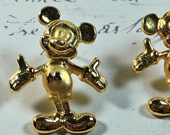 Marked Disney Mickey Mouse swivel head pierced earrings vintage gold toned
