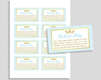 Baby Shower Book Request, Prince Invite Insert, Light Blue and Gold Books for Baby, DIY Printable, INSTANT DOWNLOAD