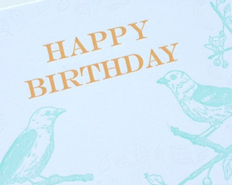 SALE - Happy Birthday Letterpress card - Tanagers - 60% off