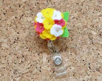 Flower Badge Reel, MULTI SPRING ID Badge Reel, Felt Badge Reel, ,  , Ribbon  697