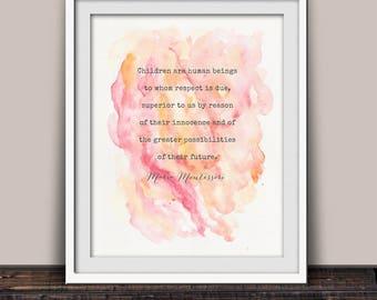 Montessori Teacher Gift - Montessori Quote - Montessori Child - Maria Montessori - Montessori Teacher - Montessori Print - Watercolor Print