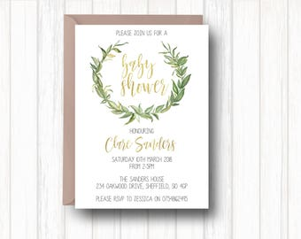 Printable baby shower invitation - Baby shower invitation - Gender neutral baby shower - Greenery and gold baby shower invitation
