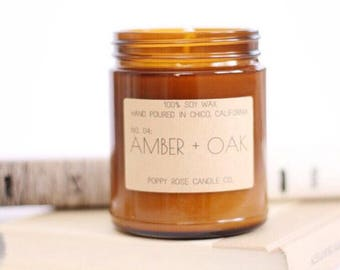 Amber and Oak. Man Candle. Gift For Him. Scented Candle. Soy Candle. 9 oz Candle. Travel Gift. Wanderlust. Wholesale.