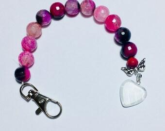 Scissor Fob, pink and black glass bead with glass heart Charm, scissor keeper, scissor keychain, scissor keep