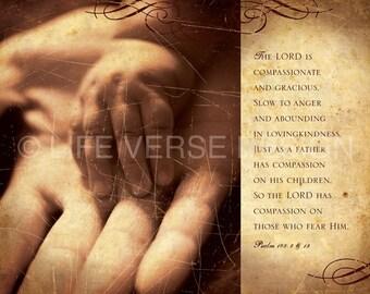 Scripture Art - Inspirational Art - Bible Verse Art - Christian Gift - Religious Gift - COMPASSION - Psalm 103