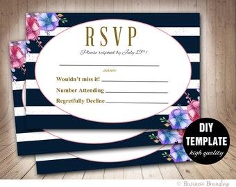 Navy and Pink Wedding RSVP Template, Elegant Wedding Response Card, Printable RSVP Card, RSVP Wedding